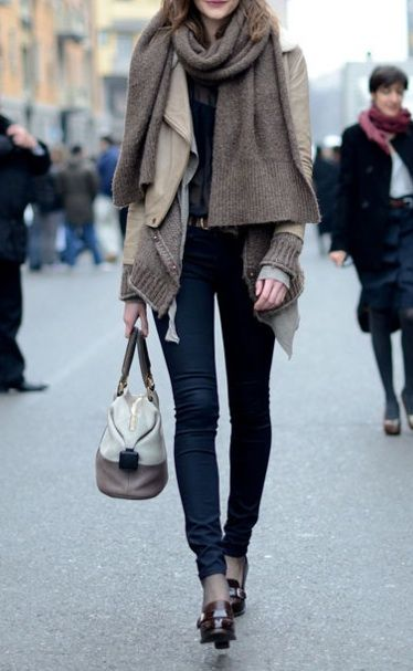Layers.: Winter Layered, Fall Style, Skinny Jeans, Winter Style, Street Style, Big Scarves, Fall Outfits, Leather Jackets, Scarfs
