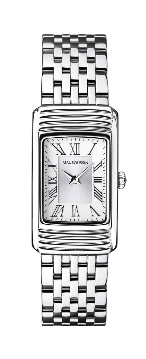 Femme Vitale watch, by Mauboussin. Stainless steel, quartz movement, white dial and stainless steel bracelet.