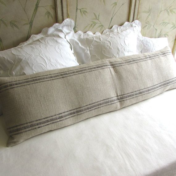 FRENCH LAUNDRY 16x54 super long  Pillow Cover in BLACK Stripes