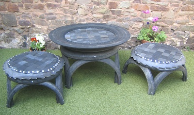 Garden tables made from recycled tires - Creative and Cool Ways To Reuse Old Tires (20) 2