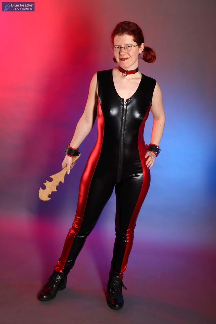 Dresses and catsuits : PVC Catsuit - red trim