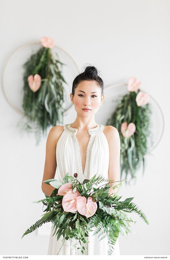 Bride with pink arum lilly and greenery bouquet | Florals by Forages | Dress by Bo and Luca  | Photograph by Wesley Vorster Photography |