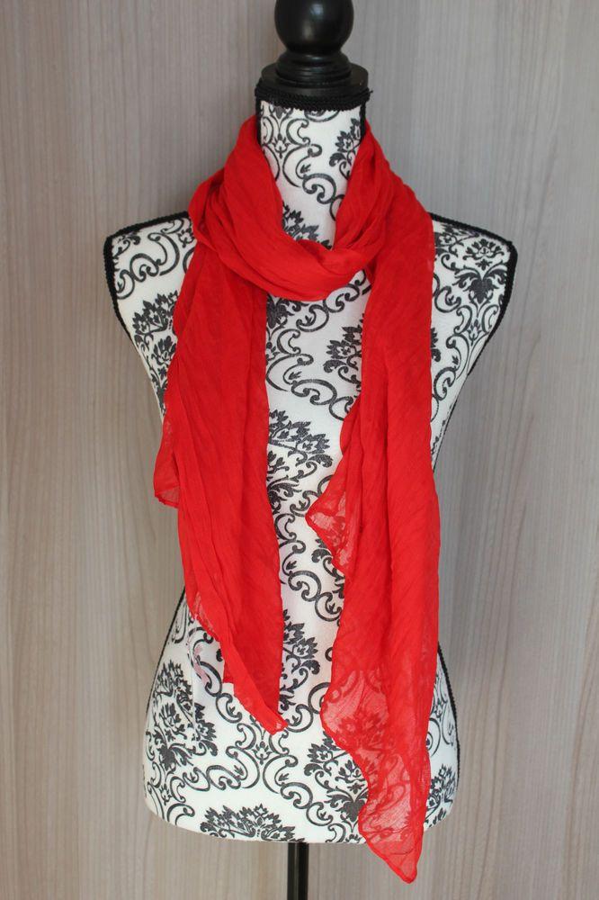 0c4ae3286d18 Foulard femme couleur unie écharpe snood voile cheche chale rouge ...