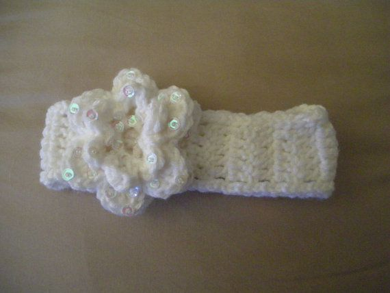 Fancy Gril's Headband Crochet  OOKA by CelinaRoseDesigns on Etsy, $8.00. I really wanted to make something sweet that I would of loved to wear as a young girl.  The flower is crocheted & beaded by hand one by one with  sequins and  seed beads.Hope you enjoy xo.