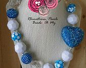 Rhinestone Bubblegum Necklace, Heart Jewelry, Blue Necklace, Gift for Mom, Girls Necklace, Bubble gum necklace, Blue and white Necklace