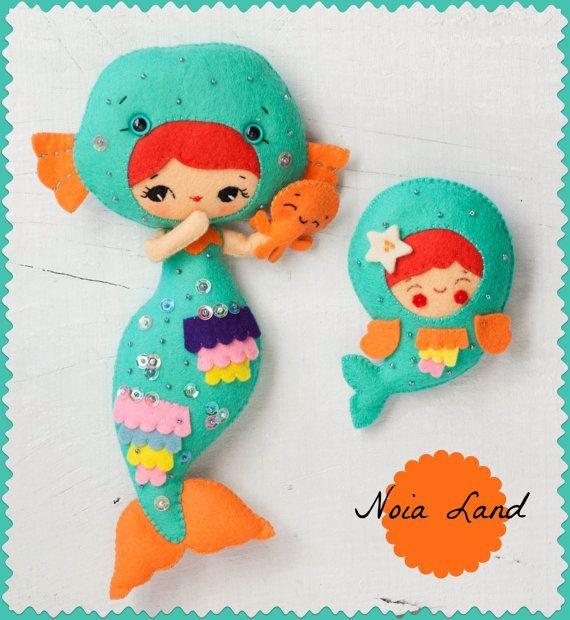 PDF. Little mermaid. Plush Doll Pattern, Softie Pattern, Soft felt Toy Pattern. Brooch.. $3.50, via Etsy.
