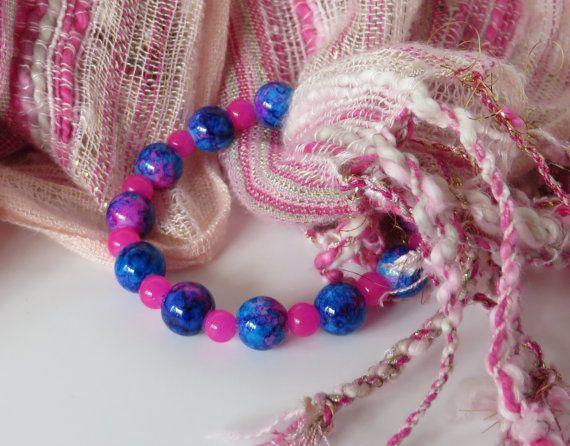 Blue and Pink Bead Bracelet / Blue Bead by BeadablesBracelets