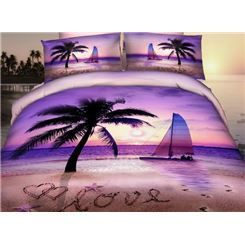 Purple Romantic Beach 3D Bedding Sets 3D Bedding Sets- ericdress.com 10876678