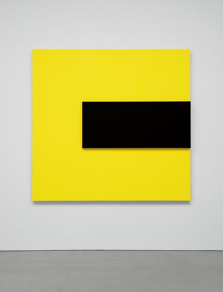 Ellsworth Kelly, Black Relief over Yellow 2014 Oil on canvas, two joined panels 70 1/8 x 73 1/4 inches; 178 x 186 cm