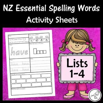 new zealand essential spelling words activity sheets for lists 1 4 nali kay spelling word. Black Bedroom Furniture Sets. Home Design Ideas