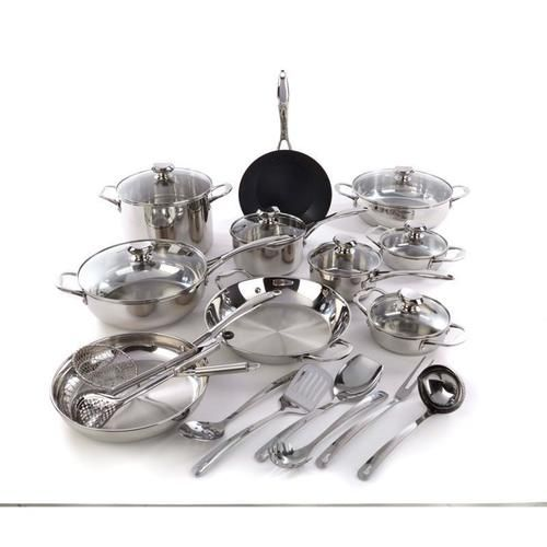 Wolfgang Puck Bistro Elite 25-piece Stainless Steel Cookware Set with Tools | Who wouldn't want a celebrity chef in his or her kitchen every night? While he can't drop in personally, Wolfgang brings you a unique and versatile 25-piece cookware set that delivers delicious no matter the occasion. Dinner for two. Family breakfasts. Large holiday feasts. Take it all on like a pro, then take it to the table and serve it in style. Wolfgang Puck performance meets the elegance of stainless steel…