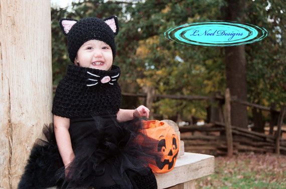 Black Cat Hat and Cowl Set Black Cat Costume Kids by LNoelDesigns