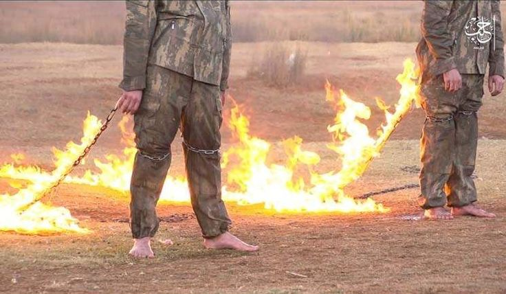 """In a new video purportedly released by the Islamic State titled """"The Cross Shield,"""" 2 soldiers with the Turkish Army are burned to death in the Aleppo countryside. The video was released on ISIS terrorist channels on December 22."""