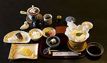 ryokan (Japanese inn) grilled mackeral, Kansai style dashimaki egg, toful in kaminabe (paper pot)