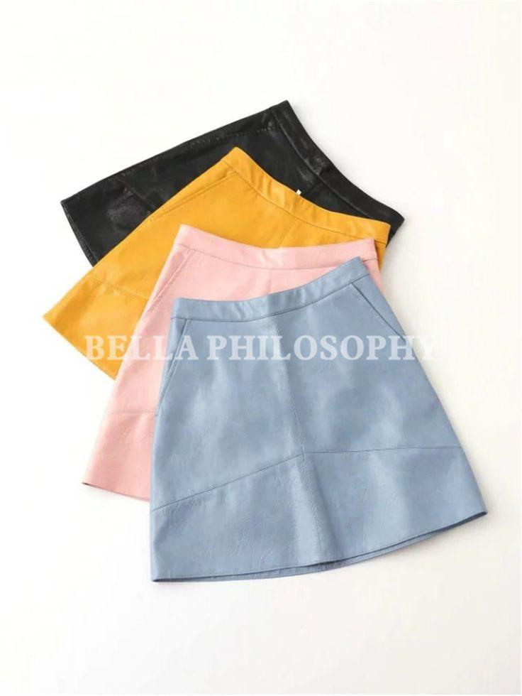 2016 осень зима новый высокой талией PU искусственной кожи женщин юбка розовый желтый черный назад синий молнии реальные фото сша. размер