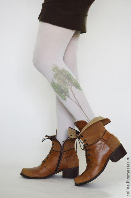 """""""Деревья"""" Колготки с принтом - колготки,тату,принт тату,модные колготки"""