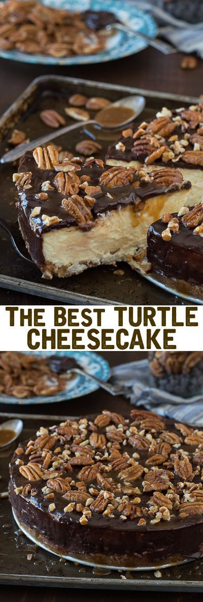 This is the best turtle cheesecake! It's rich and so creamy. Topped with chocolate ganache pecans and caramel sauce.