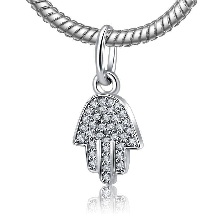 Authentic 100% 925 Sterling Silver Bead Charm Hand of Buddha Full Crystal Pendant Beads Fit Pandora Bracelets & Bangles YW20167