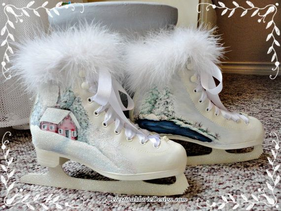 Welcome to my shoppe For the winter months and Christmas decorating is my hand painted ice skates.  This pair of skates is hand painted in