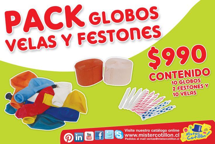 ÉSTA SEMANA EN TODAS LAS TIENDAS MISTER COTILLON!! PACK GLOBOS VELAS Y FESTONES POR SOLO $990. STOCK LIMITADO!! SOLO DESDE ESTE LUNES 10 AL DOMINGO 16 DE MARZO!! NO LO OLVIDES TE ESPERAMOS!!