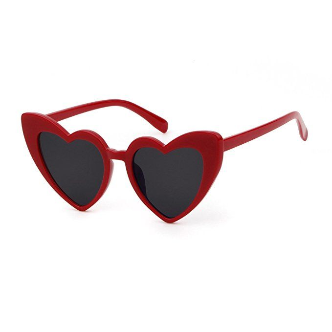 1aebecc67c BOLD Retro Heart MOD Thick Frame Clout Goggles Cat Eye Lens Sunglasses  (Grey lense Red frame