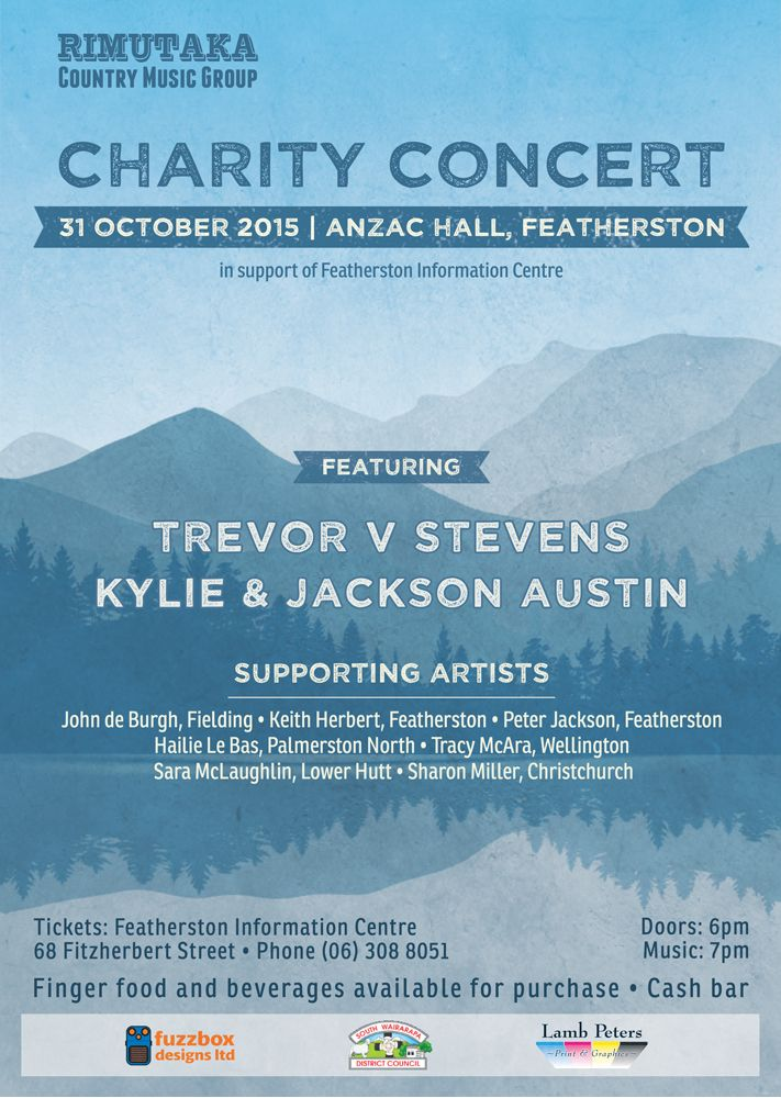 Rimutaka Country Music Group 2015 Charity Poster.