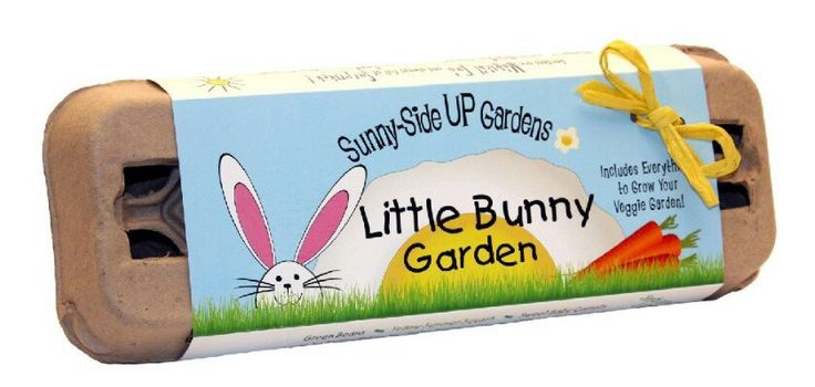 Little Bunny Garden -- A veggie garden that's perfect for little gardeners! Comes with 6 packages of heirloom seeds: Green Beans, Yellow Summer Squash, Sweet Carrots, Crunchy Red Radishes, Baby Watermelons and Little Leaf Cucumbers. Also includes the starter soil, wooden plant ID stakes, growing instructions, growing journal, pencil and 100% recycled fiber egg carton planter! http://www.amazon.com/gp/aw/d/B0001G0HI8/ref=mp_s_a_1_12?qid=1376377819=8-12=AC_SX110_SY190