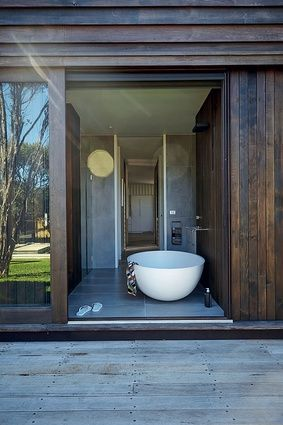 indoor / outdoor bathroom external sliding timber doors