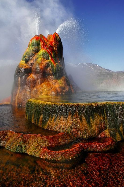 At the Fly Geyser in Nevada, USA.