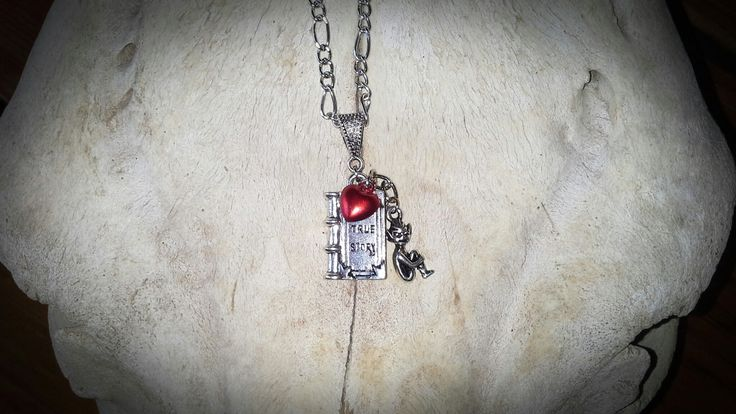 Made by Grievious - Book Pendant Necklace with Cornish Pixie and Red Heart Bell