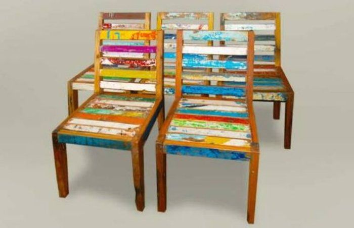 furniture made from old colorful recycled boats