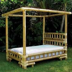 Bamboo Queen Canopy Bed