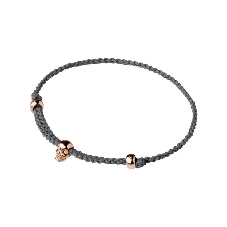 18ct Rose Gold Vermeil & Grey Cord Mini Skull Bracelet from Links of London   Bracelets for women