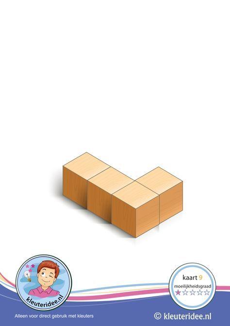 Bouwkaart 9 moeilijkheidsgraad 1 voor kleuters, kleuteridee, Preschool card building blocks with toddlers 9, difficulty 1