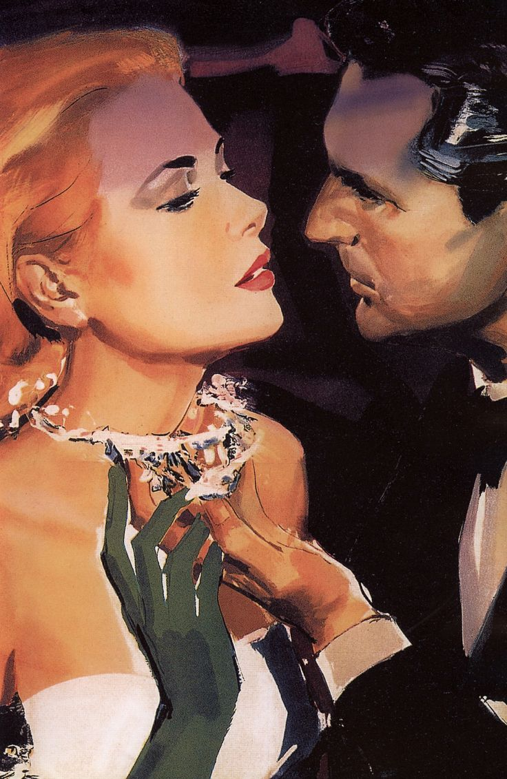 Grace Kelly & Cary Grant in To Catch a Thief (1955) artist unknown