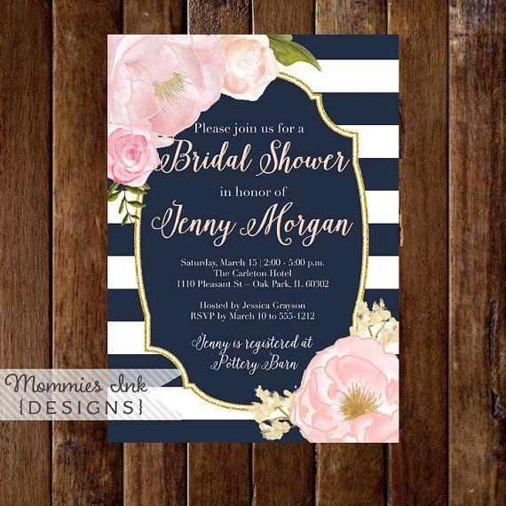 Watercolor Peonies Bridal Shower Invitation, Navy and White Stripes Shower Invitation, Watercolor Pink Roses, Gold Glitter Invitation