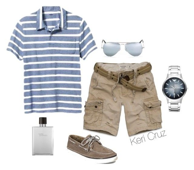 """Men's Relaxed Summer"" by keri-cruz ❤ liked on Polyvore featuring Old Navy, Ray-Ban, Emporio Armani, Hermès, Sperry and Abercrombie & Fitch"
