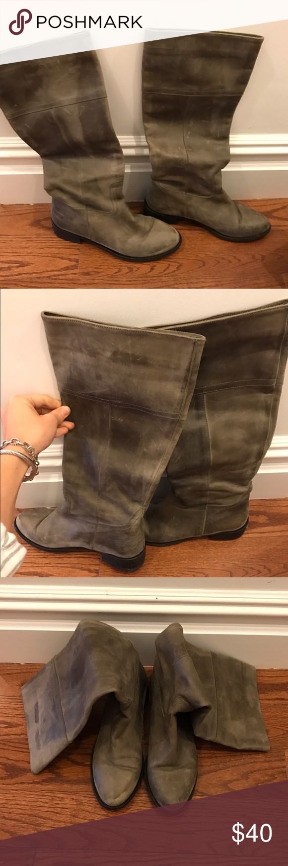 Charles David gray riding boots Gray leather riding boots with minor signs of wear Charles David Shoes