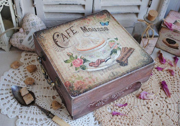 """Купить Короб поднос для чая, кофе """"Cafe Mousse"""" декупаж винтаж - короб для кухни"""