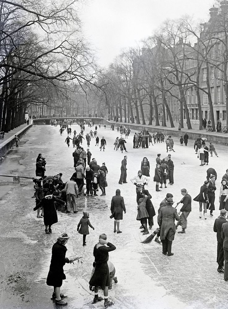 People on the ice in Amsterdam ~ 1941