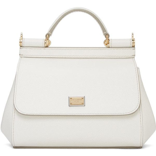 Dolce and Gabbana White Mini Miss Sicily Bag ($1,035) ❤ liked on Polyvore featuring bags, handbags, shoulder bags, bolsas, purses, white, white hand bags, hand bags, handbags shoulder bags and shoulder handbags