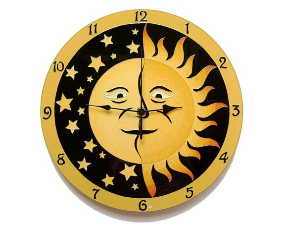 Sun and Moon Large, Silent Wall Clock, Hand painted , Glass wall clock, Glass paiting wedding gift