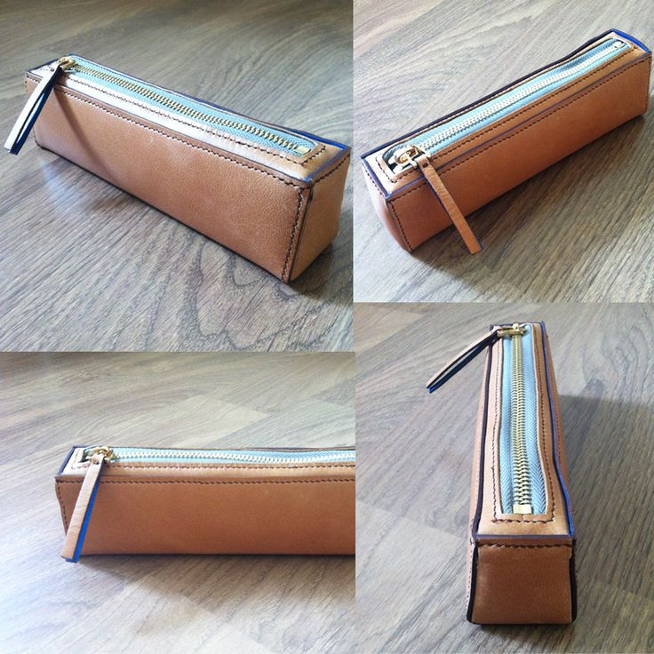 It's a pencil case using extra leather~