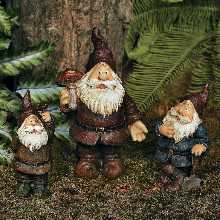 """Garden Gnomes. According to legend, gnomes are known for guarding treasure they've hidden underground. These resin gnomes have popped up for a breath of fresh air, and they will become welcome sentries in your sunlit garden. A great gift idea, buy an extra set of these fanciful garden accents for your favorite gnome collector. 4"""" to 7""""H. $15.00 1 Set(s) OrientalTrading.com"""