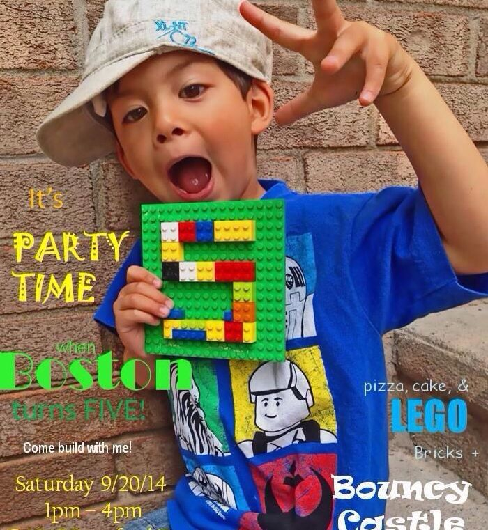 Lego party - party invite. Cropped contact info from the bottom! Easy to make yourself DIY