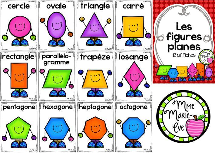 Voici un ensemble de 12 affiches sur les figures planes comprenant le cercle, l'ovale, le triangle, le carré, le rectangle, le parallélogramme, le trapèze, le losange, le pentagone, l'hexagone, l'heptagone et l'octogone.