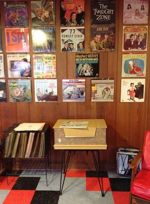 Displaying old album covers as art ideas from 8 reader for Retro basement ideas