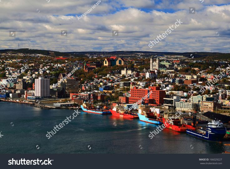 "St. John's Newfoundland. Visible are ""Basilica of St. John's the Baptist"", ""The Rooms"", ""St. Andrew's Church"", ""St. John?s the Baptist Anglican Cathedral"", Buildings and part of Harbor."