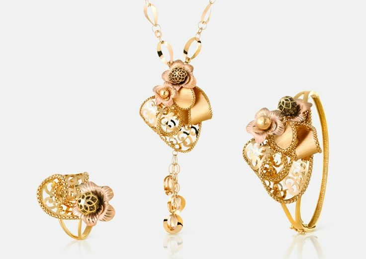 Rosa Gold Collection 21K half set - Code: 1027, Gold Weight: 76.8g. Full collection available at www.lazurde.com/Rosa #lazurde #RosaCollection
