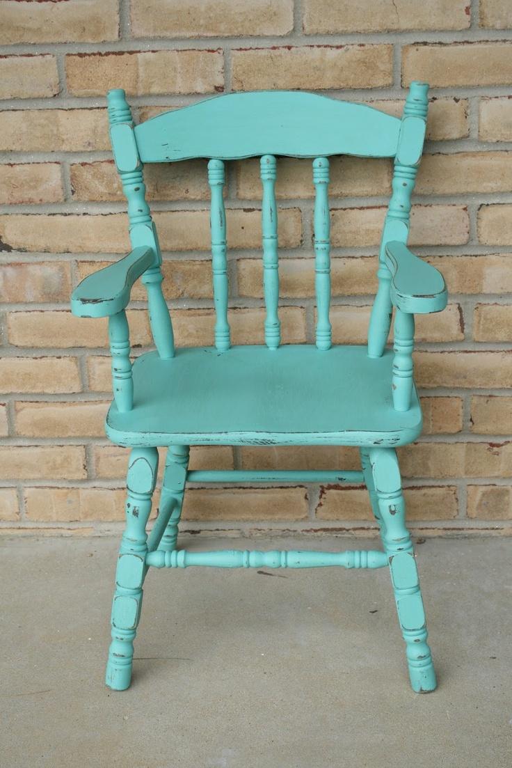 Primitive & Proper: diy chalk paint teal kids chair